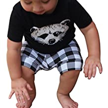 Mapletop Baby Boy Fox T shirt Tops Plaid Shorts Pants Clothes Set Outfits