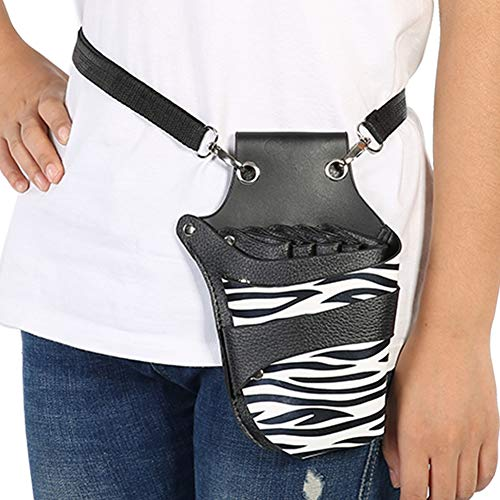 Hair Scissor Holster, Hairdressing Pouch Barber Shears Holster Hairdressing Salon Scissors Kit Bag Scissors Holder Pouch for Hair Stylist with Rivet Clips Waist Shoulder Belt(5 Scissor - Shear Holster Kit