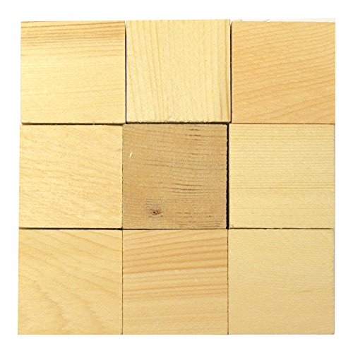 1.5 Wood Craft Blocks - Set of 18 Wooden Cubes (1 1/2 Inch)