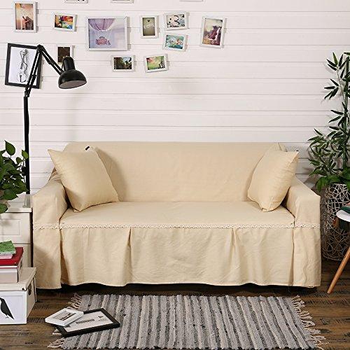 RUGAI-UE Sofa Slipcover Cotton cloth cotton sofa upholstered sofa pad cover full cover non slip solid color cloth living room,Double seat 200×260cm,Elegant yellow (cotton)
