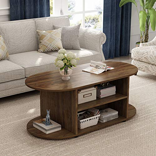 Walnut Oval Coffee Table - Tribesigns Oval Coffee Table, Multifunctional Rustic Cocktail Table with 3-Tier Open Storage Shelf for Living Room