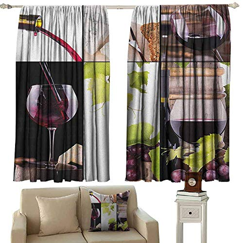zojihouse Wine Sliding Door Curtain Energy Efficient Thermal Insulated Wine Collage with Barrel Bottle Wineglass Grape Gourmet Taste Beverage W63xL63 Burgundy Pale Green White