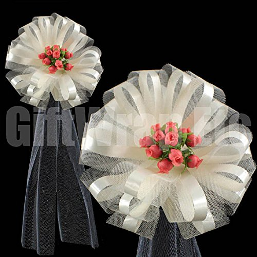 Rose Wedding Pew Bows - Large Ivory Assembled Pew Bows with Coral Rosebuds and Tulle Tails, Wedding Church Decorations, 9