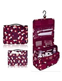 Toiletry Bag Multifunction Cosmetic Bag Portable Makeup Pouch Waterproof Travel Hanging Organizer Bag for Women Girls, Red