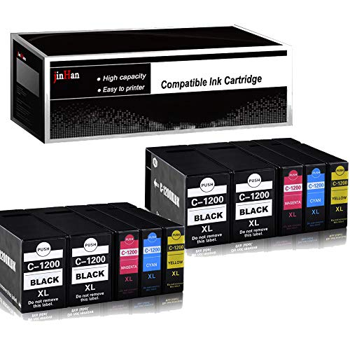 JinHan Compatible Ink Cartridge Replacement for Canon PGI-1200XL PGI-1200 XL Ink, High Yield (4 Black 2 Cyan 2 Magenta 2 Yellow), Compatible with Canon Maxify MB2320 MB2120 MB2720 MB2020 ()