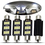 Boodled 4pcs Extremely Bright 41mm 16-SMD Festoon 4014 Chipsets Canbus Error Free 569 578 211-2 212-2 LED Bulbs Super White.