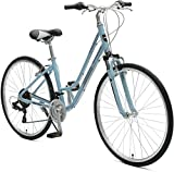 Retrospec Critical Cycles Barron 21 Speed Lady's Hybrid Bike with Step-Thru Frame, Powder Blue