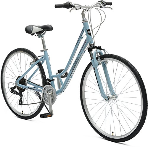Cheap Critical Cycles Women's Barron Hybrid 21 Speed Bike, Powder Blue, 16″/Small