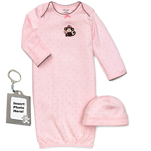 Little Me Baby-Girls Pink Pretty Monkey Newborn Gown Hat and Keychain 0-3 Mth ()