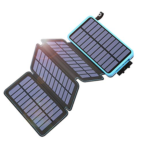 Tranmix Solar Charger 25000mAh Power Bank with 4 Panels Waterproof Blue
