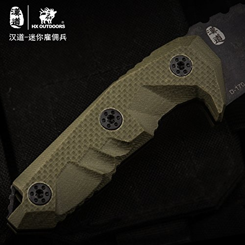 HX OUTDOORS - Fixed Blade Tactical Knives with Sheath,Tanto Blade Survival Knife,Special Forces Tactical Knife,Ergonomics G10 Anti-skidding Handle (Mercenaries - Mini)