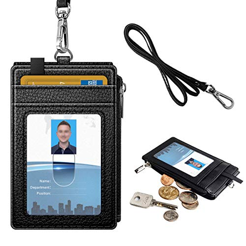 ID Badge Card Holder with Zipper, Name Badge Holder with Lanyard, Neck Lanyard id Holder for Women Men, Coolrunner 2-Sided PU Leather Vertical Business Neck Card Holder with 5 Card Slots, 1 Side Zippe