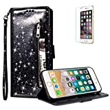 For iPhone 6/6S Case Glitter Zipper Wallet Case [Free Screen Protector],Funyye Luxury Magnetic Flip Pocket Purse Card Holder Case Tidal Current Cover for iPhone 6/6S,Black