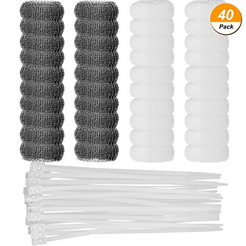 Shappy 40 Pieces Washing Machine Lint Trap Snare Laundry Sink Filter Laundry Hose Mesh with 40 Pieces Cable (Laundry Lint Filter)