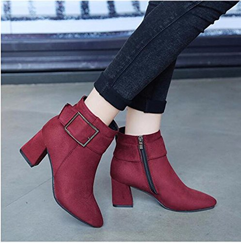 KHSKX-Red 6Cm Thick With High-Heeled Shoes In The Tip Of The Girl With The Short Barrel Martin Boots Spring And Autumn And Winter England Fans Matt Single Boots Cotton Boots 36