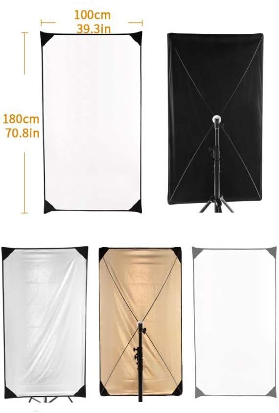KMCMYBANG Photographic Reflector 4 In1 Glow Reflector Panel Photo Studio Gold//Silver Flat Panel Light Reflector with 360 Degree Rotating Holding Bracket Photographic Light Board