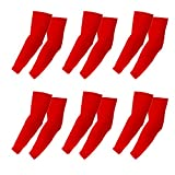 Elixir Arm Sleeves 6 Pairs Bundle Pack for Cycling, Golf, Tennis, Hiking and Outdoor Activities, 6 Pairs Red