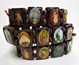 Wooden Religious Strech Bracelets, 12-pc-package