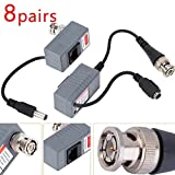 Jahyshow BNC to RJ45 Cable Video + Power Balun Connector for CCTV Camera 8 Pairs /16pcs