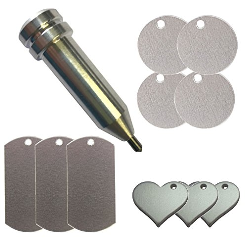 Chomas Creations Etching/Engraving Tool for Maker and Explore and Metal Stamping Blanks: Round, Heart, and Dog Tags