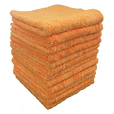 """Shine Doctor Microfiber Edgeless Terry Towel 16"""" x 16"""" Orange(Qty. 12) - Ultra Absorbent, Long Pile & Very Soft(365 GSM): Automotive"""