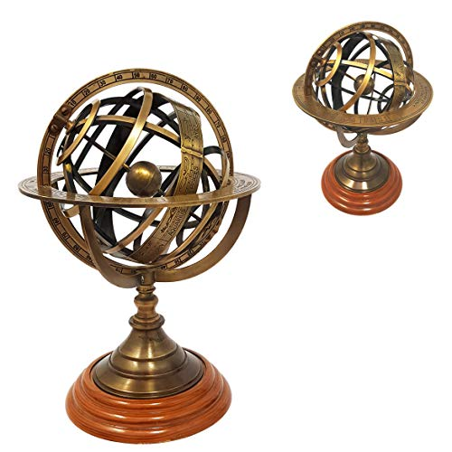 Brass Nautical - 8 inches Tall Antique Armillary Sphere Globe Replica Gift; Vintage Table Décor and Gift ()