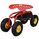 2 Trays Printer - Red Rolling Garden Cart Adjustable Swivel Work Seat With Heavy Duty Tool Tray Gardening Planting Outdoor Patio Lawn Yard Utility Wagon Buggy Scooter Pneumatic Wheel