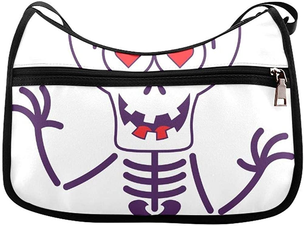 Cute Kawaii Skeleton Halloween Messenger Bag Crossbody Bag Large Durable Shoulder School Or Business Bag Oxford Fabric For Mens Womens