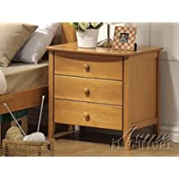 Nightstand Contemporary Style Maple Finish