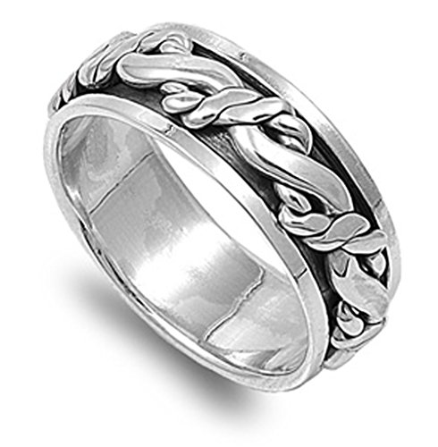 925 Sterling Silver Spinner Ring - 9
