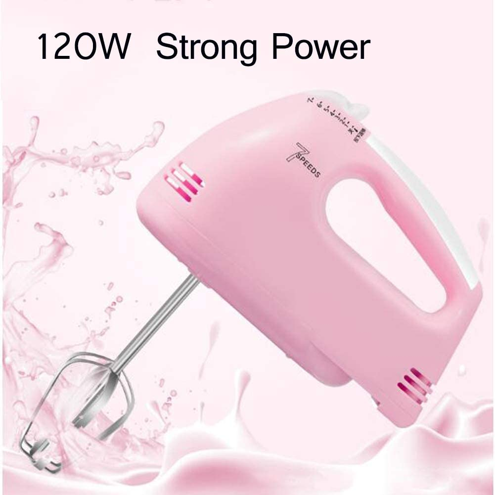 Stainless Steel Beasters Double Mixer 7 Speed Settings Electric Hand Mixer Pink Egg Beater Small Whisk Cake Mixer