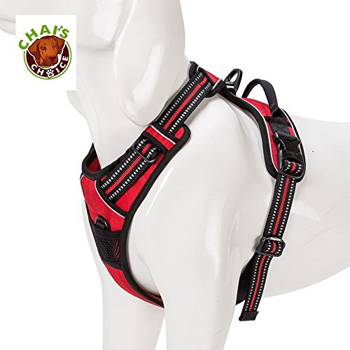 Pet Adjustable Nylon Dog Harness - Chai's Choice Best Front Range Harness (Medium, Red)