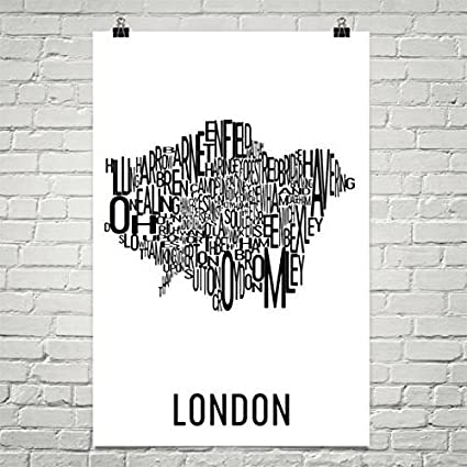 London Typography Neighborhood Map Art City Print, London Wall Art, London  Art Poster,