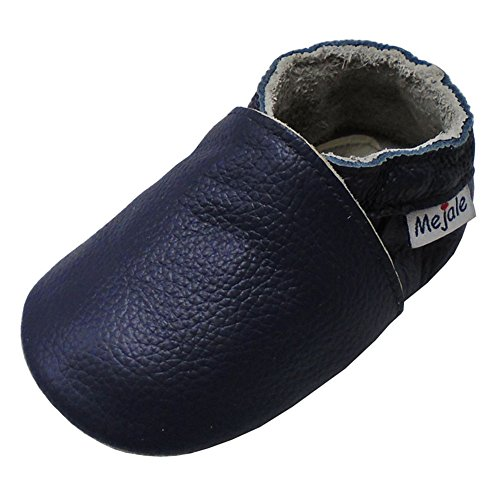 Shoes Soft Soled Leather Moccasins Anti-Skid Infant Toddler Prewalker(Navy Blue,24-36 Months) ()