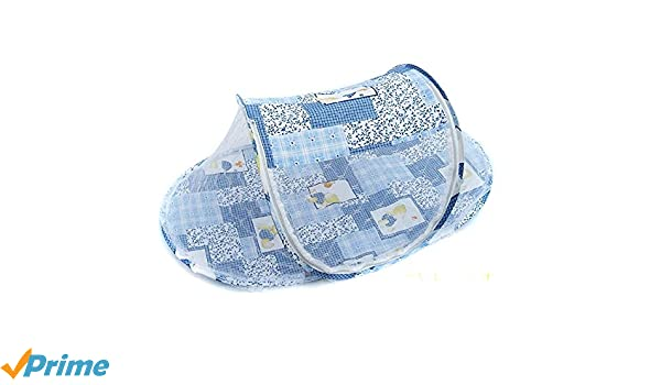 Blue, 110x60x38cm Infant Sun Shelters Pop Up Folding Travel Bed Mosquito Net Sunshade Large Baby Beach Tent Portable Baby Travel Tent UPF 50