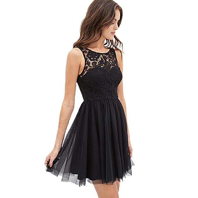 Bekleidung Longra Damen ärmellose Spitzen rückenfreies Kleid Mädchen ...