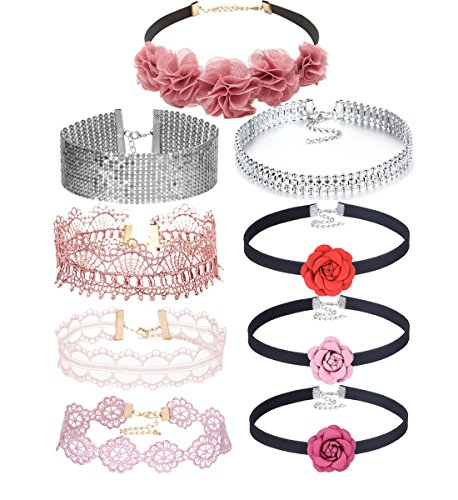 Choker Flowers Necklace - Tpocean 9pcs Vintage Pink Lace Black Velvet Flower Chokers Necklace Bling Crystal Diamond Silver Women Necklace Chockers for Girls Teens Wedding Gifts