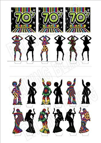 70S SEVENTIES DISCO MIX 21 PIECE NEW - Fun Novelty PREMIUM STAND UP Edible Wafer Paper Cake Toppers Decoration