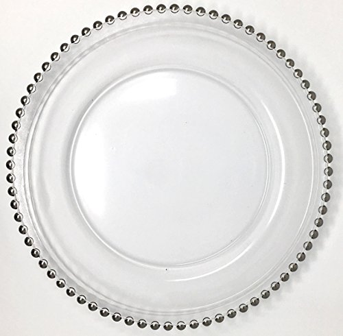 Lovely Glass Dinnerware Formal 13-Inch Beaded Rim Clear Glass Charger Plate Wedding Receptions Anniversary Dinners Modern Appeal Glass Plates (4, - Charger Beaded Glass