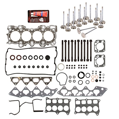 Evergreen HSHBIEV4008G Head Gasket Set Head Bolts Intake Exhaust Valves Fits Acura Integra Honda 1.6L 1.7L 1.8L B17A1 B18C1 B18C5 ()