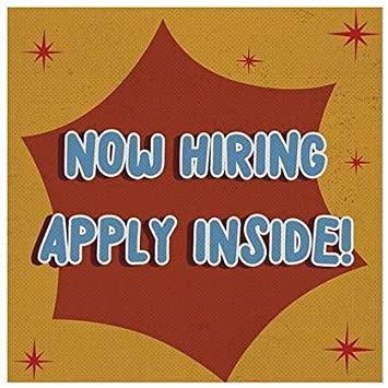 30x20 Now Hiring Apply Inside Stripes Blue Perforated Window Decal 5-Pack CGSignLab