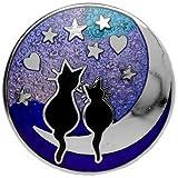 Cats on Moon Brooch