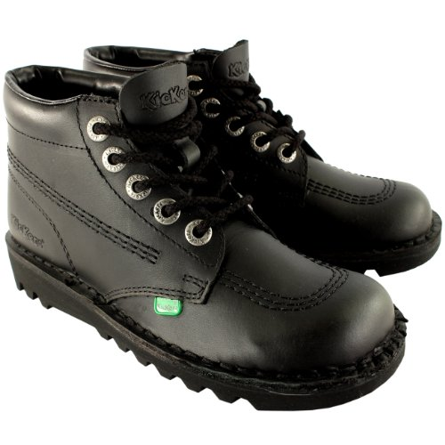 Kickers Womens Kick Hi Classic Leather Office Work Ankle Boots Shoes - Black/Black - 9.5 (Womens Kickers)