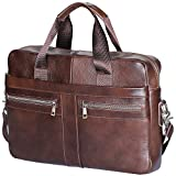Men's Briefcase TECOOL Genuine Leather Laptop Business Shoulder Bag Messenger Bag Satchel Bag,Brown