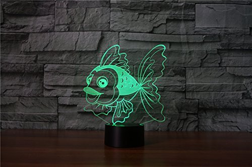 3D Fish Night Light USB Touch Switch Decor Animal Lamp Table Desk Optical Illusion Lamps 7 Color Changing Lights LED Table Lamp Xmas Home Love Brithday Children Kids Decor Toy Gift