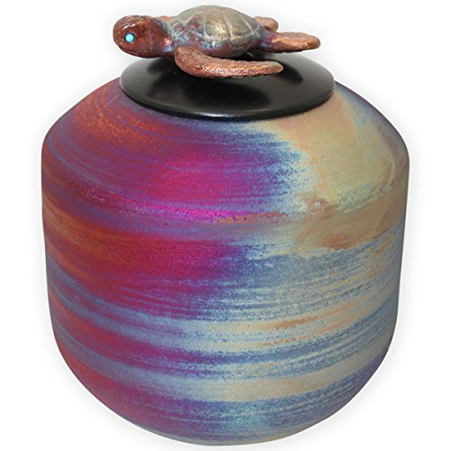 Beautiful Life Urns Honu Ceramic Medium Cremation Urn - Handmade Funeral Urn Topped with a Sculpted Sea (Iridescent Signed)