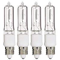 E11 Bulb, 4 Pack 120V 75W T4 E11 Base Halogen Light Bulbs, Mini Candelabra Flood Light,Long Lasting Life Dimmable