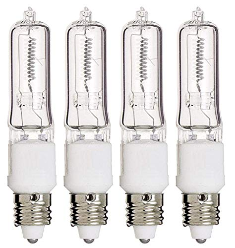E11 Bulb, 4 Pack 120V 75W T4 E11 Base Halogen Light Bulbs, Mini Candelabra Flood Light,Long Lasting Life Dimmable