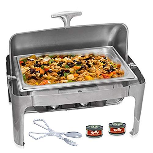 Tiger Chef Stainless Steel Roll Top Chafer, 8 Quart Chafing Dish Set with 2 Fuel Gels Burns 2.5 Hours and a Plastic Salad Tong