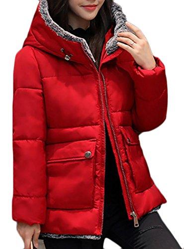 Quilted Fleece Hooded Women Down EKU Red Jacket Winter Pockets Coat Stylish qWRfSnAUn